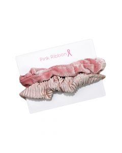 Pink Ribbon - Scrunchie set á 2 Roze
