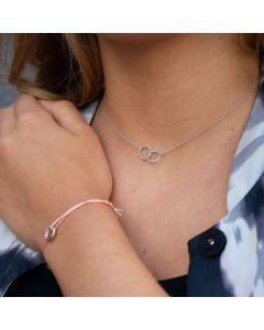 Pink Ribbon Armbandje Bazou zilver