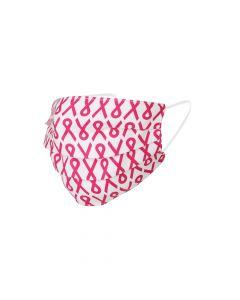 Pink Ribbon Mondkap - Wit Lintje